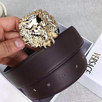 Versace New fashion lion head buckle leather couple belt Coffee with box