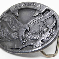 Oval Alaska Belt Buckle with Landing Eagle - Pewter tone - Designed and Made by Siskiyou Buckle Co. 1986 Collectors #  X-55 Limited Edition