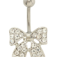 """14G 7/16"""" Steel CZ Bow Navel Barbell"""