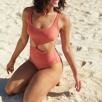 Aerie Cut Out One Piece Swimsuit, Harvest