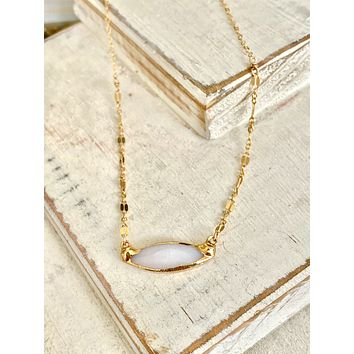 Mother of Pearl marquis 2 chain necklace