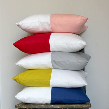 Red & White color block pillow cover, white cushion cover, industrial decor, two tone pillow cover, lumber pillow