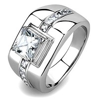 Mens Wedding Rings TK3011 Stainless Steel Ring with AAA Grade CZ