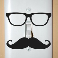 Mustache and Glasses Light Switch Cover
