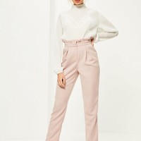 Missguided - Pink Paperbag Waist Cigarette Pants