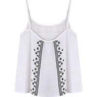 White Mesh Patch Embroidered Cami Top