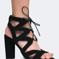 Lace Up Cutout Sandal