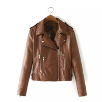 Khaki Lapel Zipper Buckled Faux Leather Biker Jacket