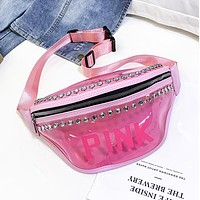Victoria Fashion New Letter Diamond Transparent Waist Bag Shoulder Bag Chest Bag Women Pink