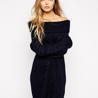 ASOS Cable Knit Dress With Off Shoulder