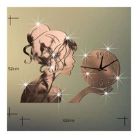 Wall Clock Creative Living Room Mirror Girl Sticking
