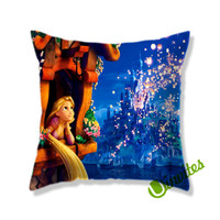 disney tangled rapunsel watching lantern in the castle Square Pillow Cover