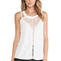 White Lace and Mesh Strap Sleeveless Top
