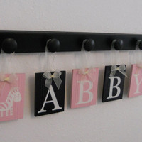 Zebra Girls Nursery Room Decor Sign 6 Letters - Personalized Light Pink / Black Baby Name ABBY with Zebras, New Unique Custom Baby Gifts