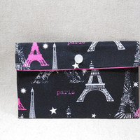 Black and Hot Pink Paris Themed Fabric Pouch