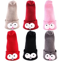 Baby Caps Winter Hats for Children Girls Kids Boys Warm Knitted Children's Baby Hat Cartoon Eyes Skull Beanies Hip Hop Cap