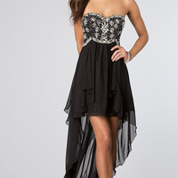 High Low Strapless Black Party Dress by B Darlin