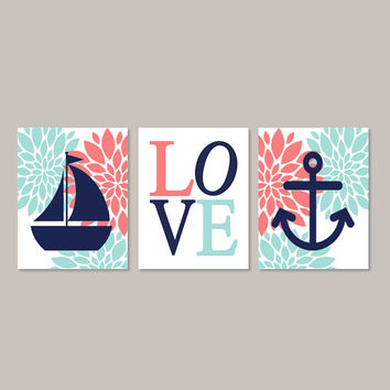 Nautical Nursery Wall Art Girl Nursery Art Coral Navy Aqua Floral Nursery Flower Nursery Decor Anchor Boat Love Set of 3 Prints Or Canvas