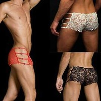 Men's floral lace ladies look boyshorts panty jeweled low rise boxer brief