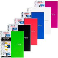 Five Star Spiral Notebook, College Ruled, 2 Subject, 8.5 x 11 Inches, 120 Sheets, Assorted Colors, 6 Pack