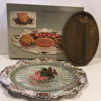 Vintage silver plated relish tray, carving board, dish, oval tray, silver, towel, thanksgiving, Christmas, holiday, decor, dinning, serving