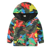 Kids Children Hooded Jackets Coats Boys Girls Unisex Outerwears Windbreaker Camo Clothes SM6
