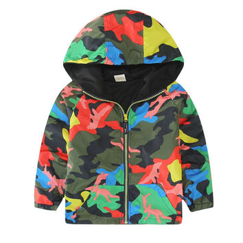 Kids Children Hooded Jackets Coats Boys Girls Unisex Outerwears Windbreaker Camo Clothes TIML66