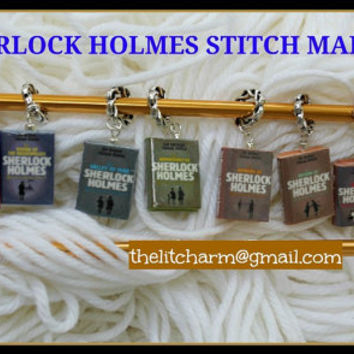 SHERLOCK HOLMES Contemporary Clay Mini Book Stitch Markers for Knitting or Crochet U PICK