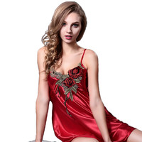 Embroidery sexy spaghetti strap nightgown red solid color sleepwear quality faux silk lounge