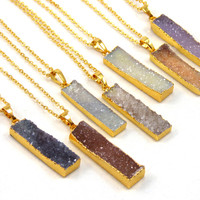 Bar Druzy Pendant Necklace