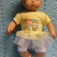 """AMERICAN GIRL Bitty Baby Clothes """"Owl Babies"""" (15 inch) doll outfit  dress shorts booties socks headband owls yellow blue"""