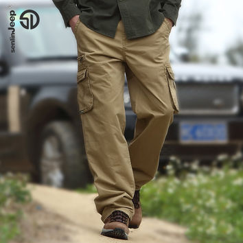 Cotton Men Cargo Joggers Pants Military Trousers Men Fashion Loose Casual Overalls Pocket