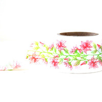 Red Flowers & Green Vines Washi Tape -- 30mm Wide