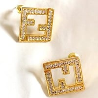Fendi simple inlaid zircon double F letter earrings