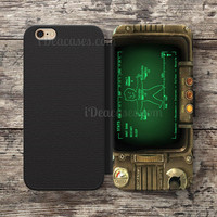 fallout pipboy rainmeter Wallet Case For iPhone 6S Plus 5S SE 5C 4S case, Samsung Galaxy S3 S4 S5 S6 Edge S7 Edge Note 3 4 5 Cases