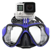 TELESIN Gopro Dive Scuba Diving Mask w/ Mount Compatible with Go Pro Hero3, 3+ and 4/4 Session, Swimming Mask for Snorkel / Snorkeling Go-pro (Yellow)