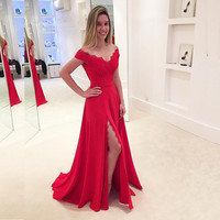 Sexy Split Prom Dresses Long Chiffon Cap Sleeves Prom Party Dress Vestido de festa A Line V Neck Lace Party Formal Gown