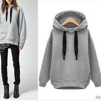 SIDE ZIPPER HOODIE (GRAY) | Paper Kranes