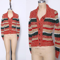 Vintage 70s SPACE DYE Sweater STRIPE Cardigan Crop Sweater Boho Sweater Cable Knit Cardigan