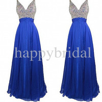 Long Royal Blue Beaded Prom Dresses A line Party Dresses Homecoming Dresses Wedding Dresses