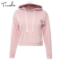 Hoodies Women 2017 Timechee Fashion Casual Long Sleeve Short Sweatshirts New Spring Solid Female Crop TopsLYY0214
