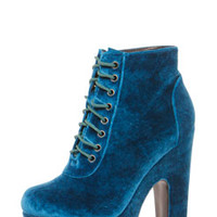 Zoe Velvet Feel Lace Up Chunky Boot