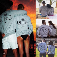 Couple Hoodie Sweatshirt The King and His Queen-Love Matching Shirts 2016 New Lovers Womens Mens Long Sleeve Couple Clothes