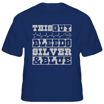 Unisex This Guy Bleeds Silver and Blue Cowboys T-Shirt