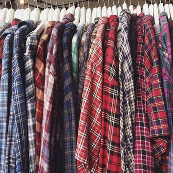 mystery plaid boyfriend cotton shirt / slouchy oversized fit / select your size