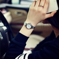 Hot sale top women quartz-watch stainless steel leather ladies Analog small dail watch women montre femme wrist watches
