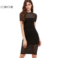 COLROVIE Sexy Dress Women Party Dresses Elegant Knee Length Dress Black Short Sleeve Circle Eyelet Sheath Dress