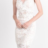 This sexy bodycon dress features a semi-sheer floral lace fabrication, sweet heart neckline with floral lace appliqué trim, thin shoulder straps, sleeveless, semi-sheer waist and back with floral lace trim, thin shoulder straps, built in bra, partially nud