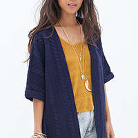 FOREVER 21 Textured Knit Cardigan Navy