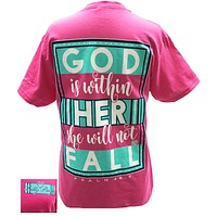 Bjaxx Lilly Paige God is Within Her She Will Not Fall Christian Girlie  Bright T Shirt